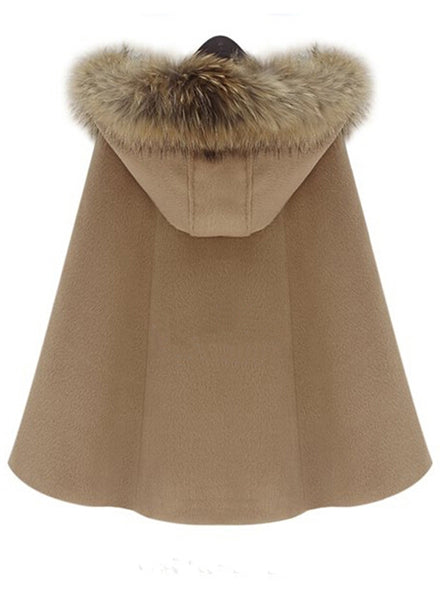 Fuax Fur Hooded Cape Style Coat - girlyrose.com