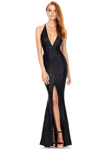 Glamour Deep V Neck Backless Maxi Sequin Dress - girlyrose.com