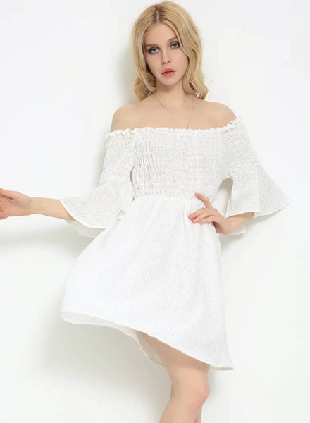 White Glamour Slash Neck Short Flounce Sleeve Dress