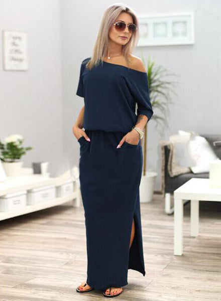 Half Sleeve Side Slit Maxi Solid Dress
