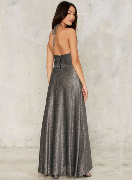 Halter Backless A-line Long Prom Dress - girlyrose.com