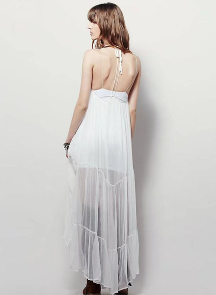 Halter Backless Chiffon Maxi Dress with Lining - girlyrose.com
