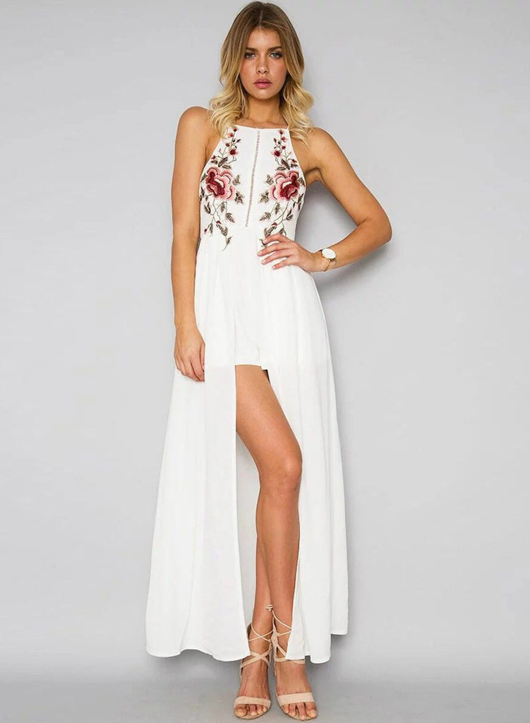 Halter Backless Floral Embroidery High Slit Dress - girlyrose.com