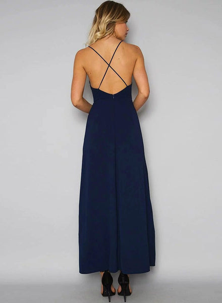 Blue Halter Backless Floral Embroidery High Slit Dress - girlyrose.com