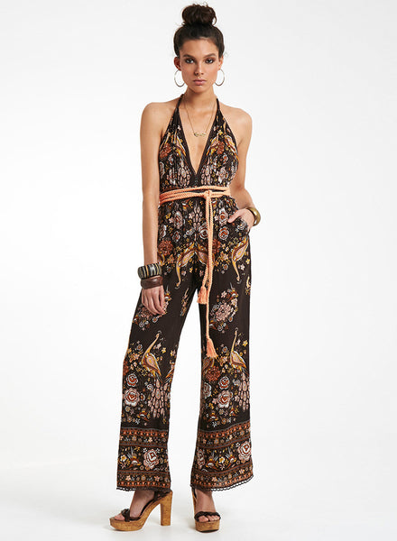Halter Backless Floral Printed Jumpsuit