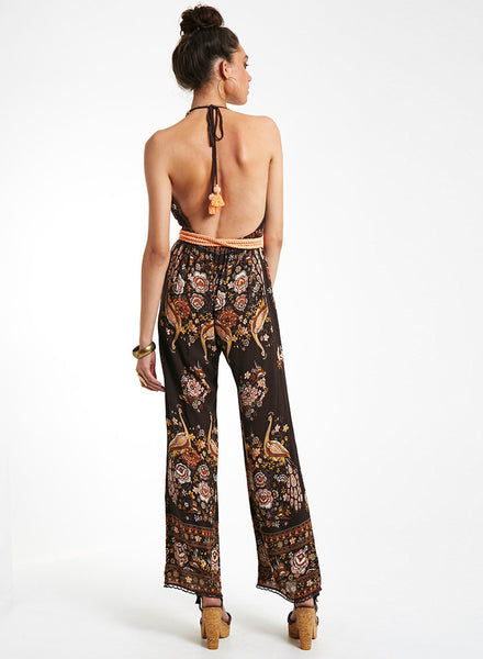 Halter Backless Floral Printed Jumpsuit - girlyrose.com
