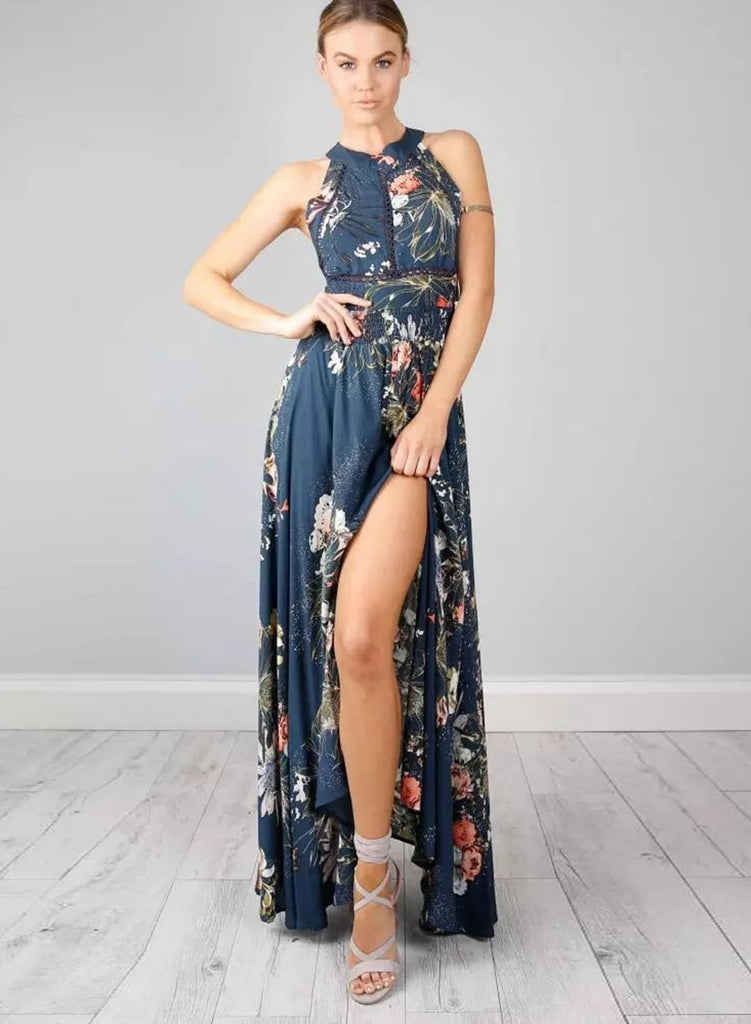 Halter Backless Floral Printed Maxi Dress - girlyrose.com