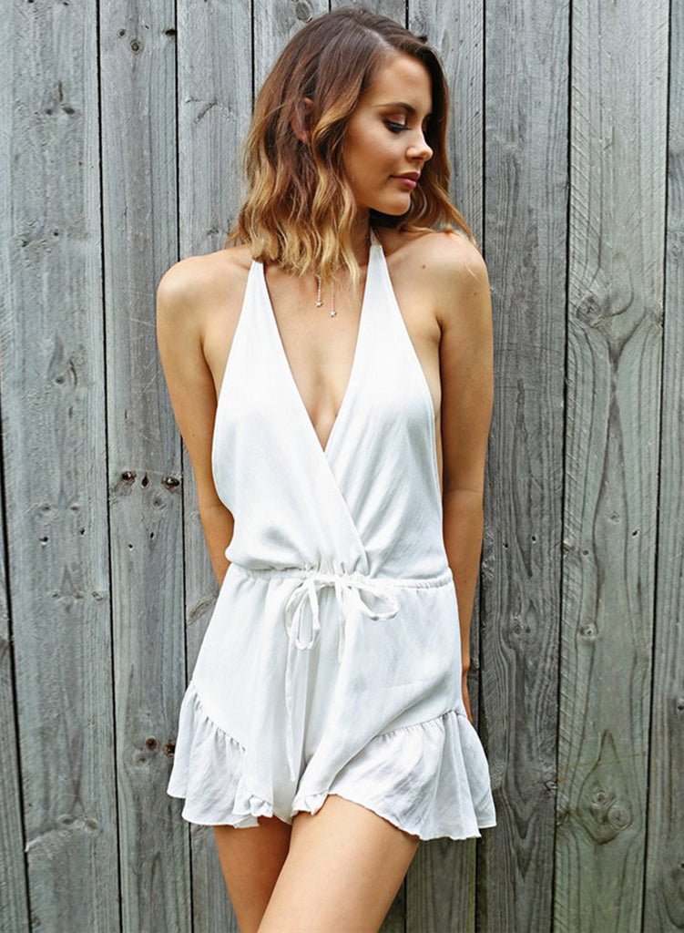 Halter Backless Ruffle Solid Romper