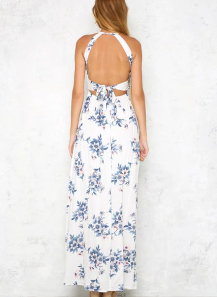 Halter Backless Sleeveless Floral Printed Slit Maxi Dress - girlyrose.com