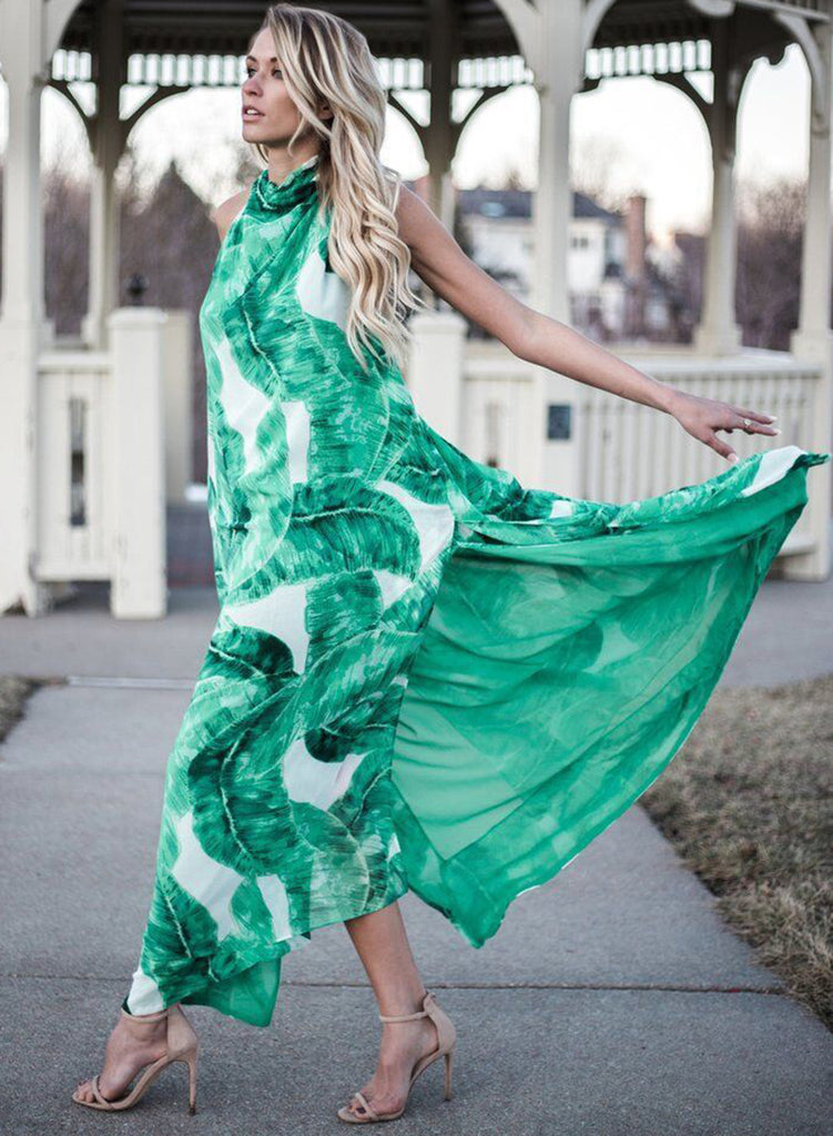 Halter Backless Sleeveless Leaf Printed Side Slit Maxi Dress - girlyrose.com