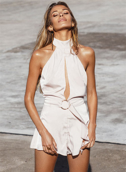 Halter Backless Sleeveless Solid Romper - girlyrose.com