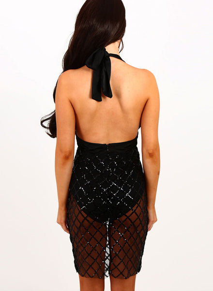 Black Halter Deep V Neck Backless Bodycon Club Dress - girlyrose.com