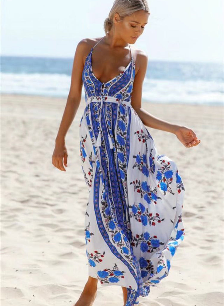 Halter Deep V Neck Sleeveless Backless Floral Printed Split Maxi Dress