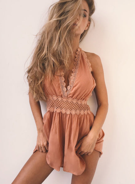 Halter Deep V Neck Sleeveless Backless Romper - girlyrose.com