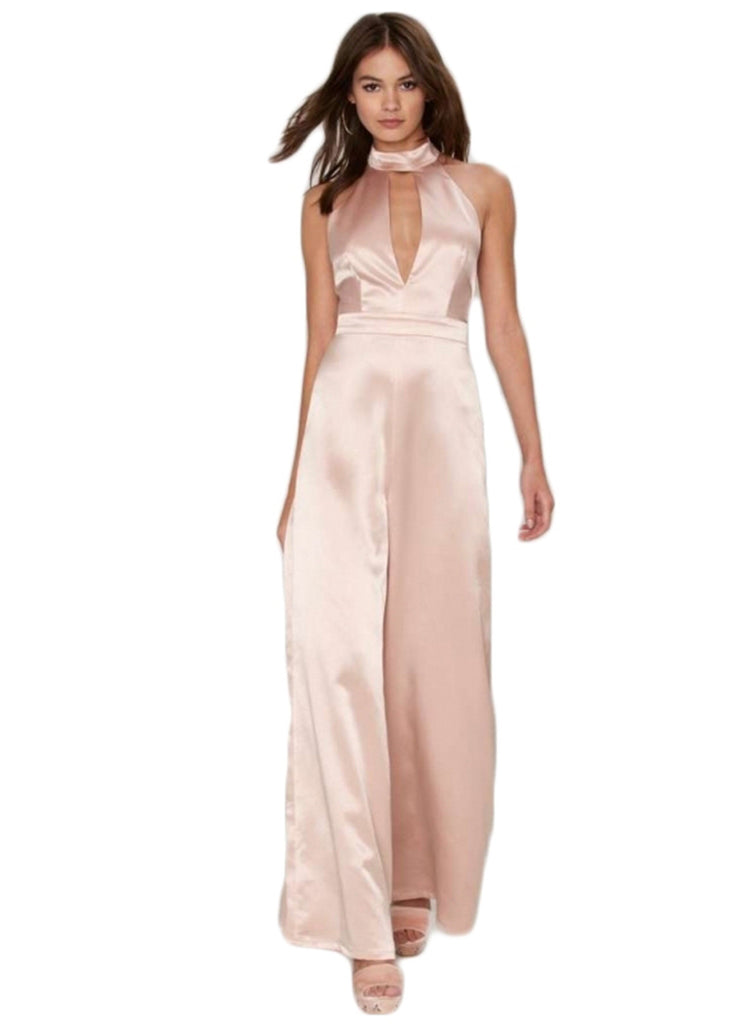 Halter Hollow out Sleeveless Backless Solid Jumpsuit - girlyrose.com