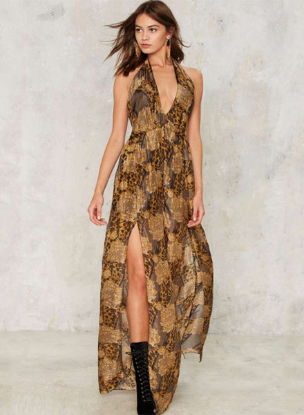 Halter Lace-up Print Maxi Dress - girlyrose.com