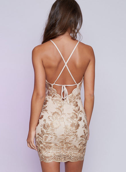Halter Neck Backless Mini Bodycon Dress - girlyrose.com