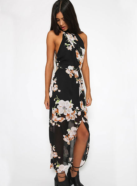 Halter Neck Sleeveless Floral Printed Slit Maxi Dress
