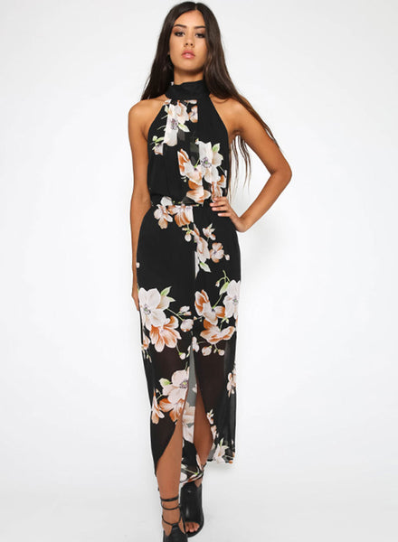 Halter Neck Sleeveless Floral Printed Slit Maxi Dress - girlyrose.com