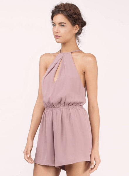 Halter off Shoulder Sleeveless Solid Romper - girlyrose.com