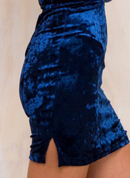 Navy Halter Plunge V Bodycon Velvet Dress