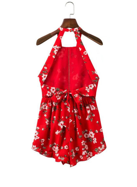 Halter Sleeveless Backless Floral Printed Romper - girlyrose.com