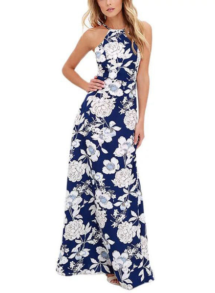 Halter Sleeveless Floral Print Maxi Dress - girlyrose.com