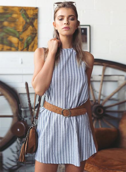 Halter Sleeveless Striped Mini Dress