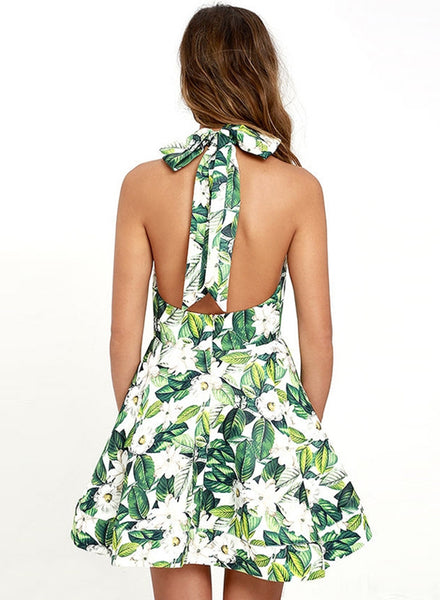 Green Halterneck Backless Floral Printed A-line Dress - girlyrose.com