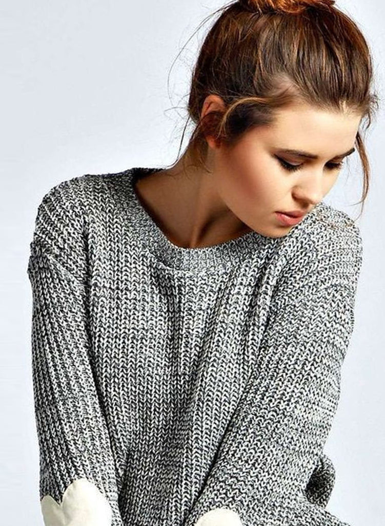 Heathered Heart Patch Pullover Knit Sweater
