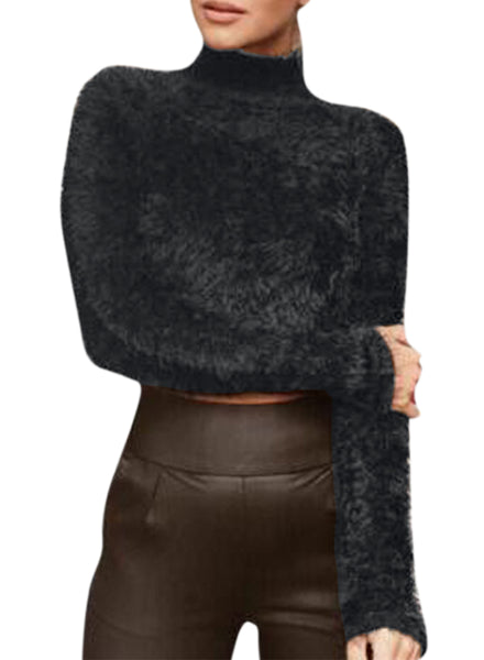 High Neck Long Sleeve Cropped Mohair Sweater - girlyrose.com