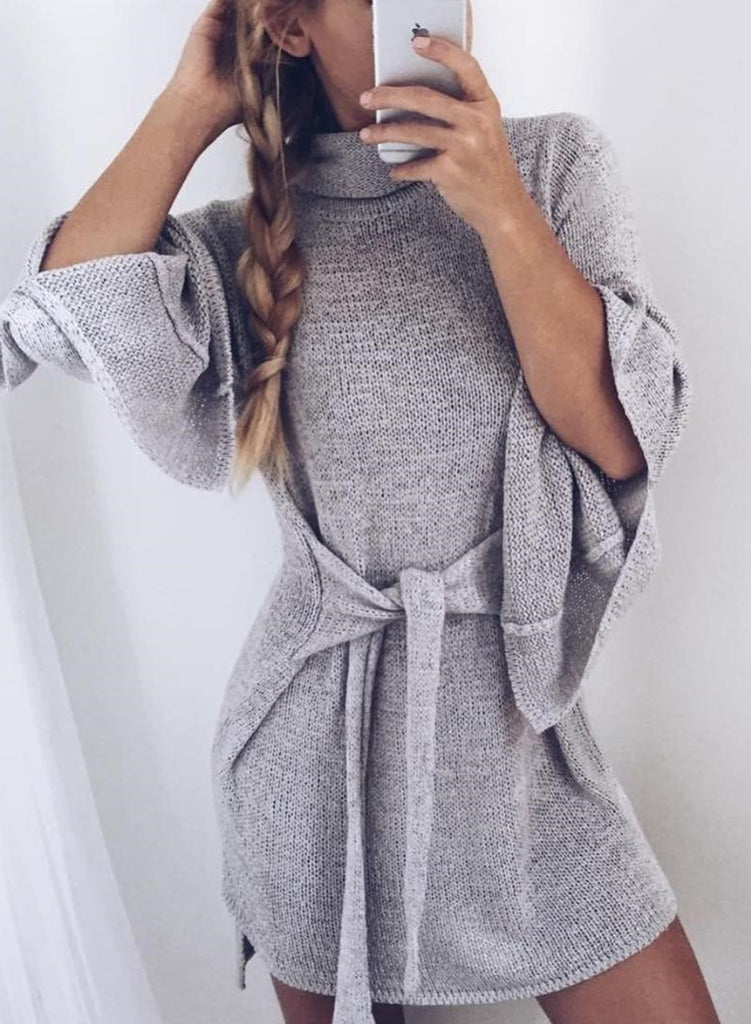 High Neck Long Sleeve Tie Front Sweater - girlyrose.com