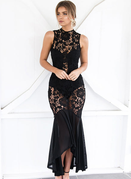 Hollowed Lace Block Fish Tail Prom Maxi Dress - girlyrose.com