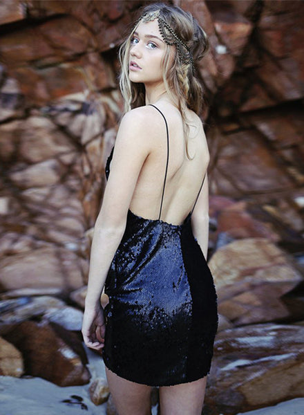 Black Hot Deep V Neck Backless Sequin Dress