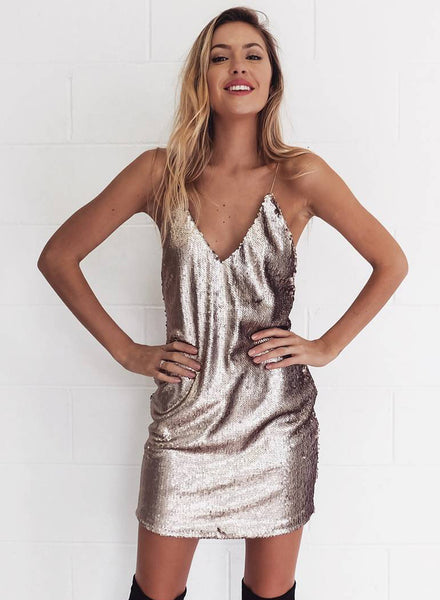 Deep V Neck Backless Sequin Dress - girlyrose.com