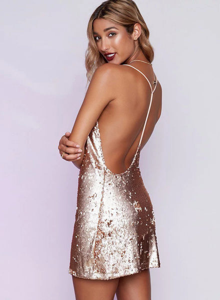 Pink Hot Spaghetti Strap Deep V Neck Sequin Dress