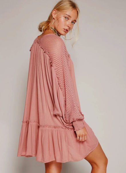 Lace Hollow out Loose Mini Pleated Dress - girlyrose.com