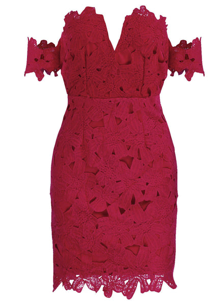 Red Lace off Shoulder Bodycon Party Dress - girlyrose.com