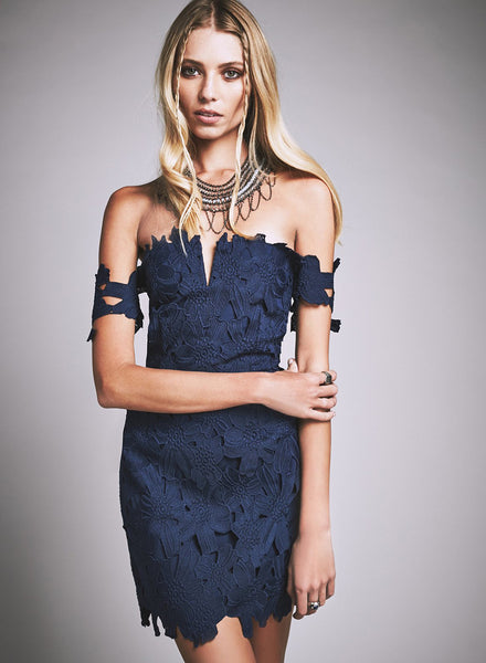 Navy Lace off Shoulder Bodycon Party Dress