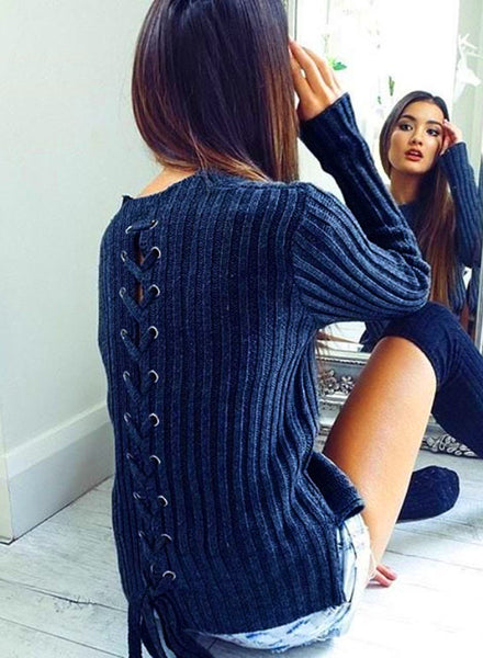 Solid Color Back Bandage Pullover Sweater - girlyrose.com