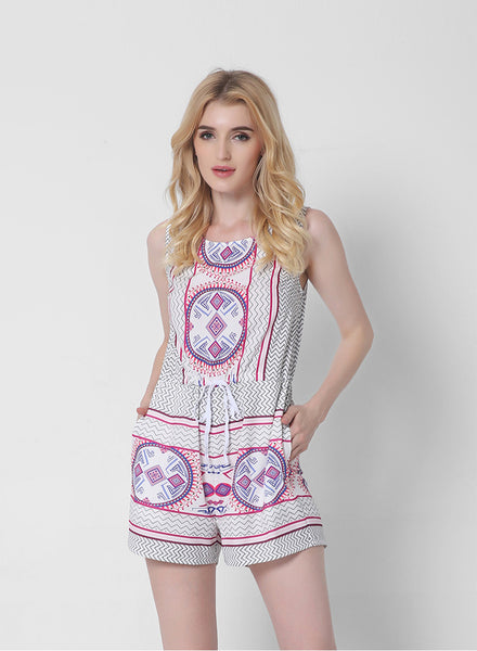 Lace-up Pattern Print Jumpsuit - girlyrose.com