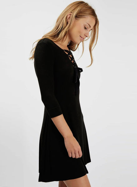 Lace up V Neck Three Quarter Length Sleeve Elastic Dress - girlyrose.com