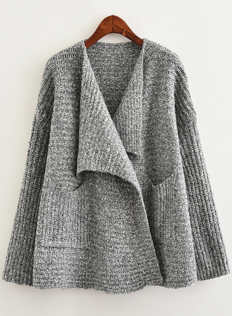 Lapel Long Sleeve Pocket Cardigan Loose Sweater - girlyrose.com