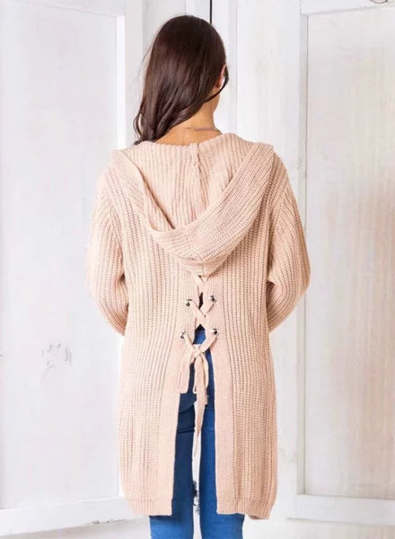 Long Sleeve Back Lace-up Open front Hooded Cardigan