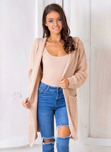 Long Sleeve Back Lace-up Open front Hooded Cardigan - girlyrose.com