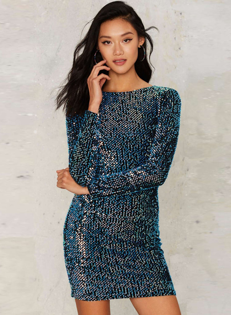 Blue Long Sleeve Backless Bodycon Sequins Dress - girlyrose.com