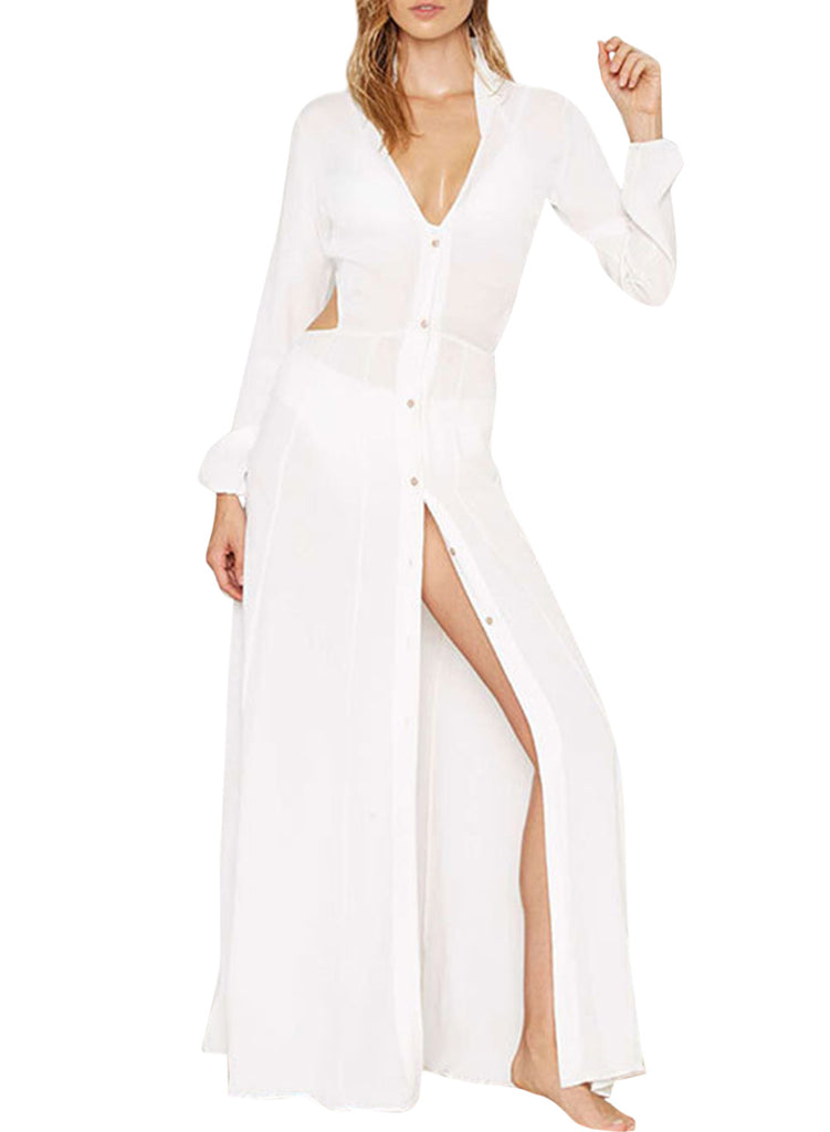 Long Sleeve Button Down Slit front Maxi Dress - girlyrose.com