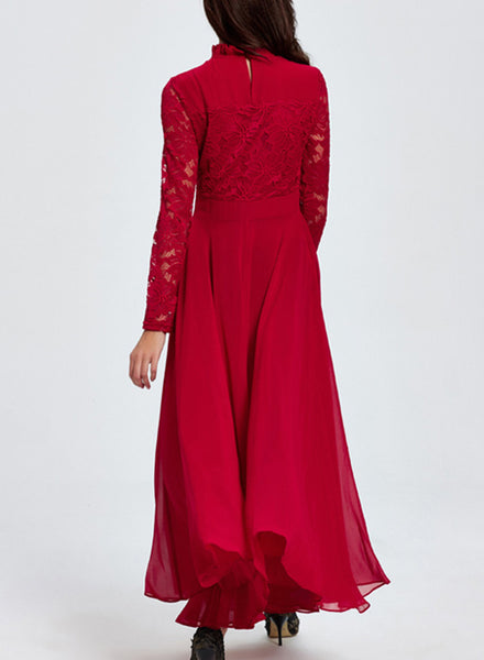 Long Sleeve Floral Lace Maxi Evening Prom Dress