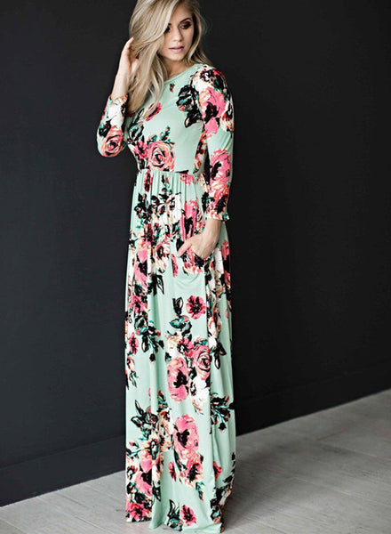 Classic rose maxi dress