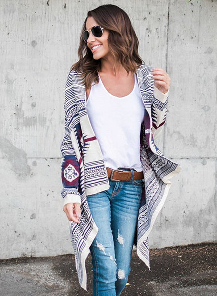 Long Sleeve Floral Printed Open Front Cardigan